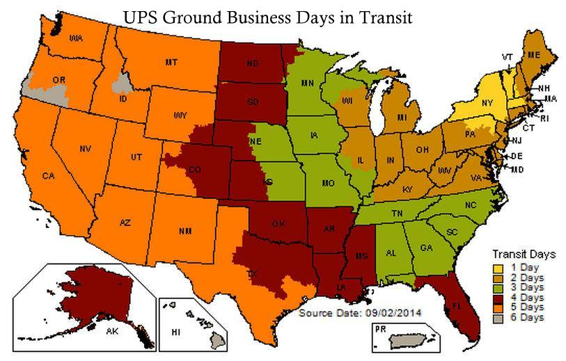 UPS Ground Business Days in Transit